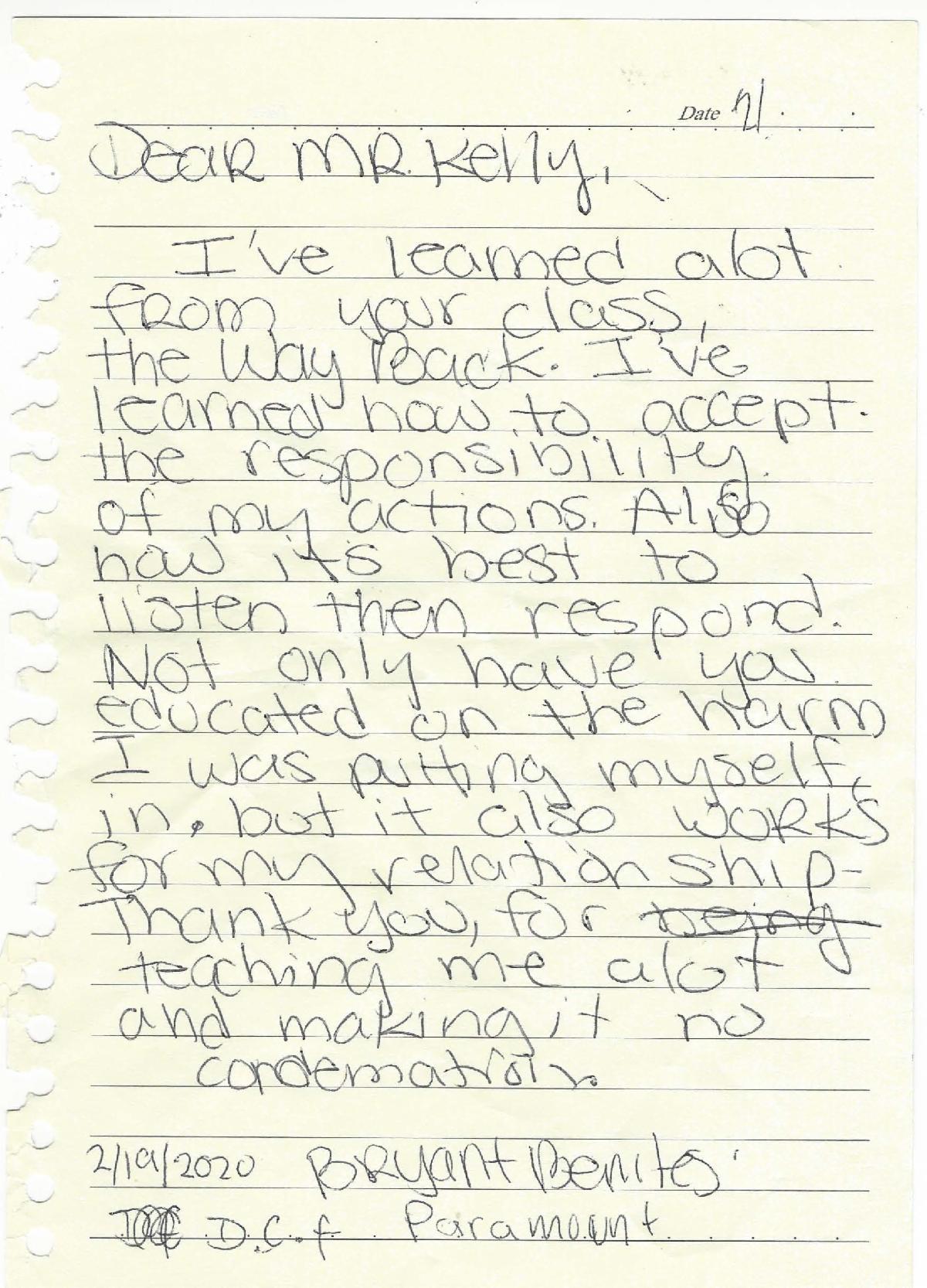 handwritten testimonial from child