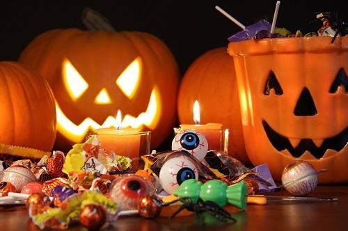 candy in pumpkin