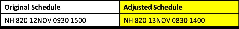 Original                                                            Schedule NH                                                            820 12NOV                                                            MNLNRT 0930                                                            1500 Adjusted                                                            Schedule NH                                                            820 13NOV                                                            MNLNRT 0830                                                            1400