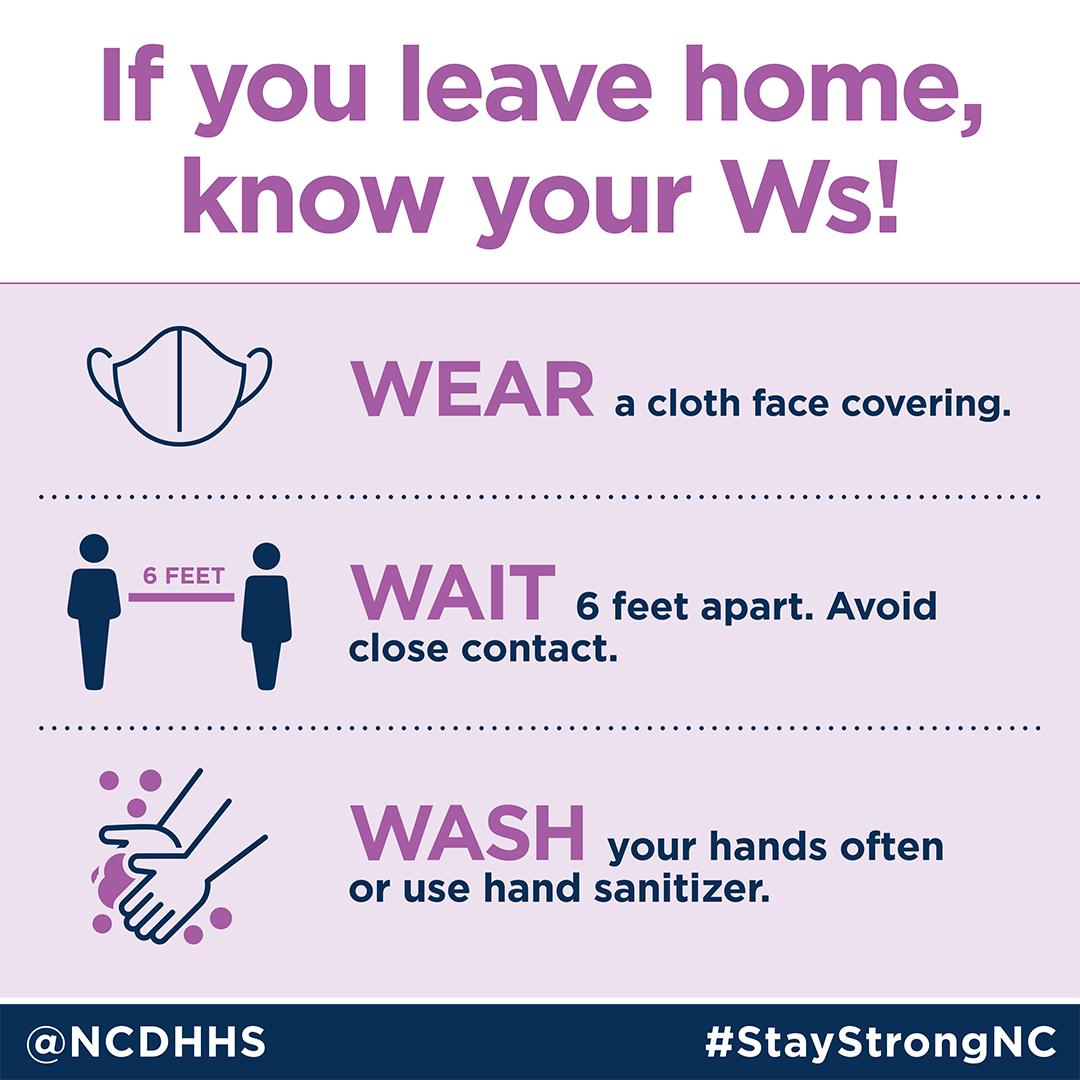 Wear a cloth face covering if you will be with other people. Wait 6 feet apart. Avoid close contact. Wash your hands often with soap and water for at least 20 seconds or use hand sanitizer.