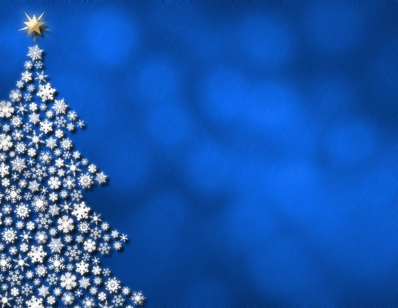 Illustration of blue glowing lights   christmas tree formed of snowflakes