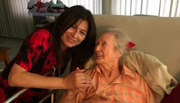 Darlene Weber, shown here visiting Helen Adkins at her Fallbrook home