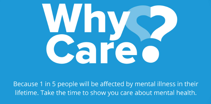 blue background with why care campaign