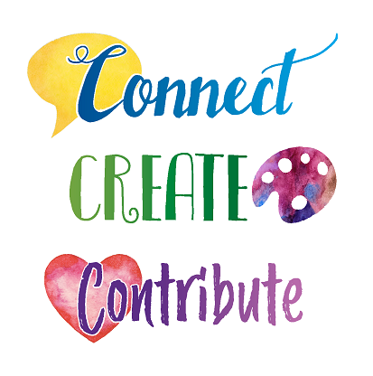 colorful stylized image connect create contribute