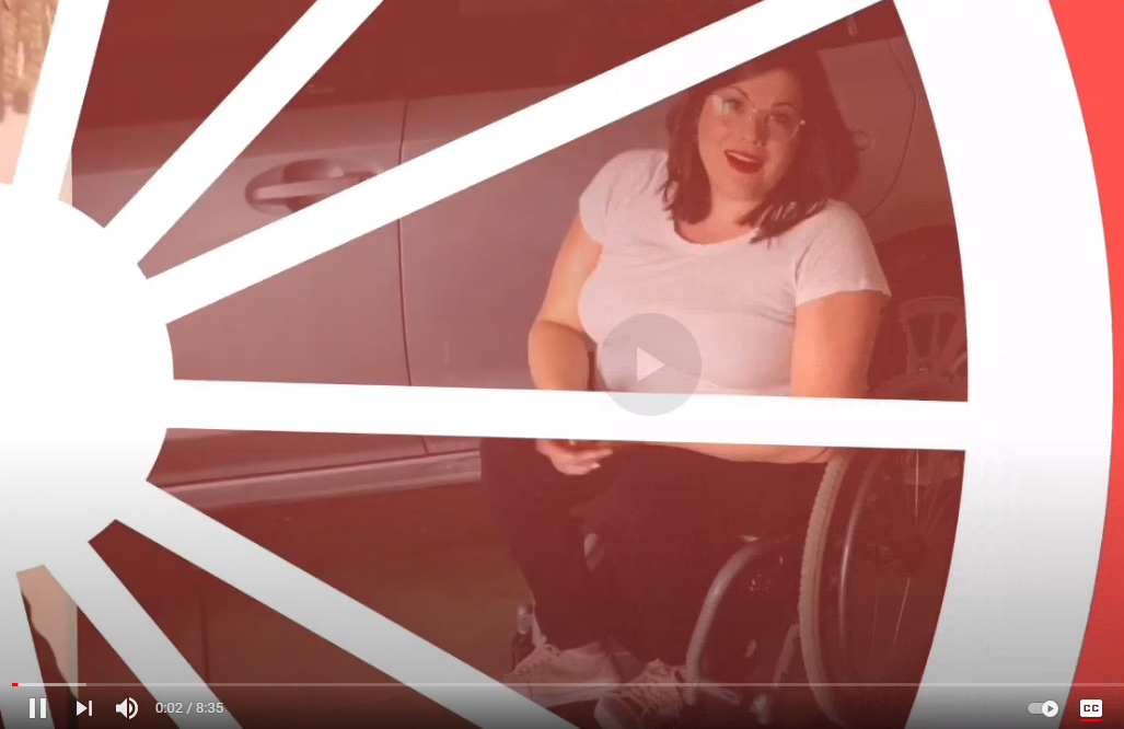 overlay stylized image of wheel with a light skinned female in a wheelchair in the background