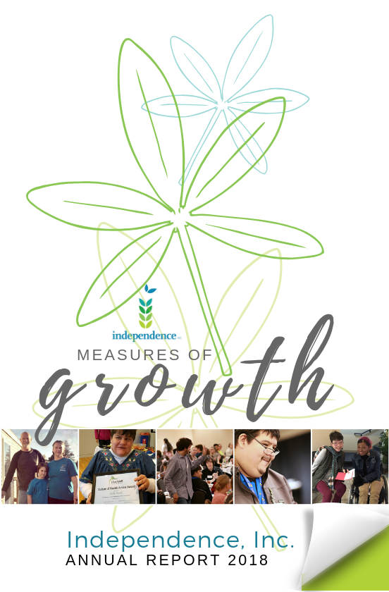 front page of Independence, Inc. annual report with colorful flowers and photo collage