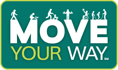 Move your way campaign with dark green background and white cartoon images of people of all abilities engaging in various activities