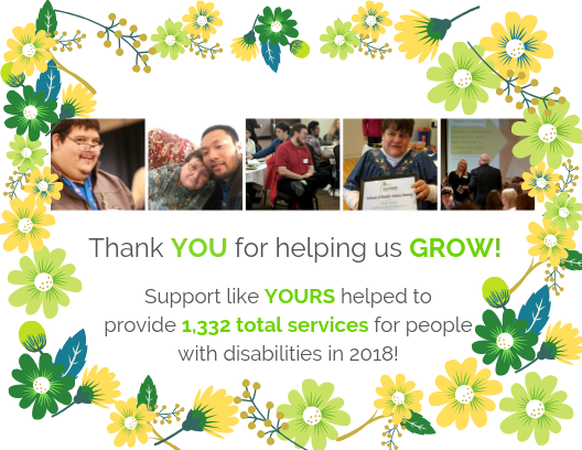 colorful floral card with photo collage of people with various abilities and the campaign thank you for helping us grow