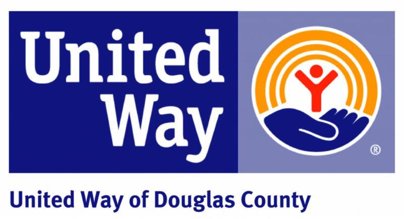 United way logo with graphic of hand holding a stick figure person