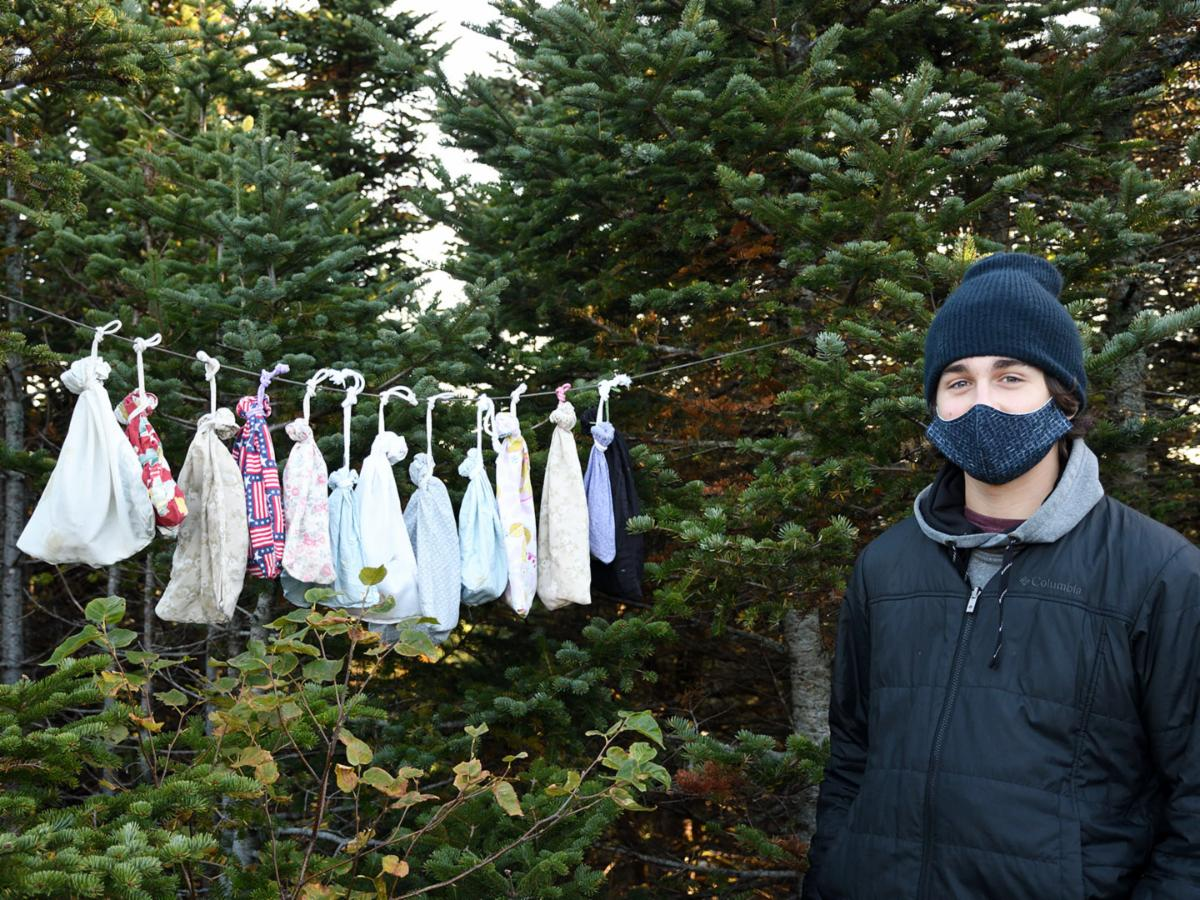 """Avery Fish with a bounty of netted birds awaiting processing on the VCE avian """"clothesline"""", Mt. Mansfield, 18 September 2020. © Michael Sargent"""