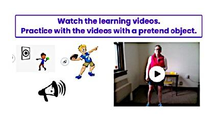 A screenshot of an interactive, overhand throwing activity video assignment that Moak incorporates into a virtual lessons. Oftentimes students send videos of themselves performing the lesson for evaluation.