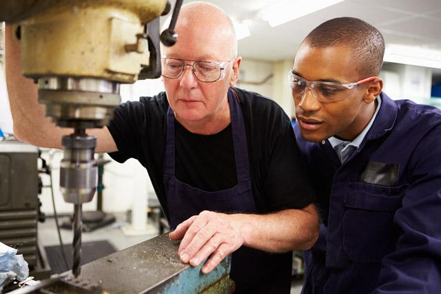 career and technical education teacher and student