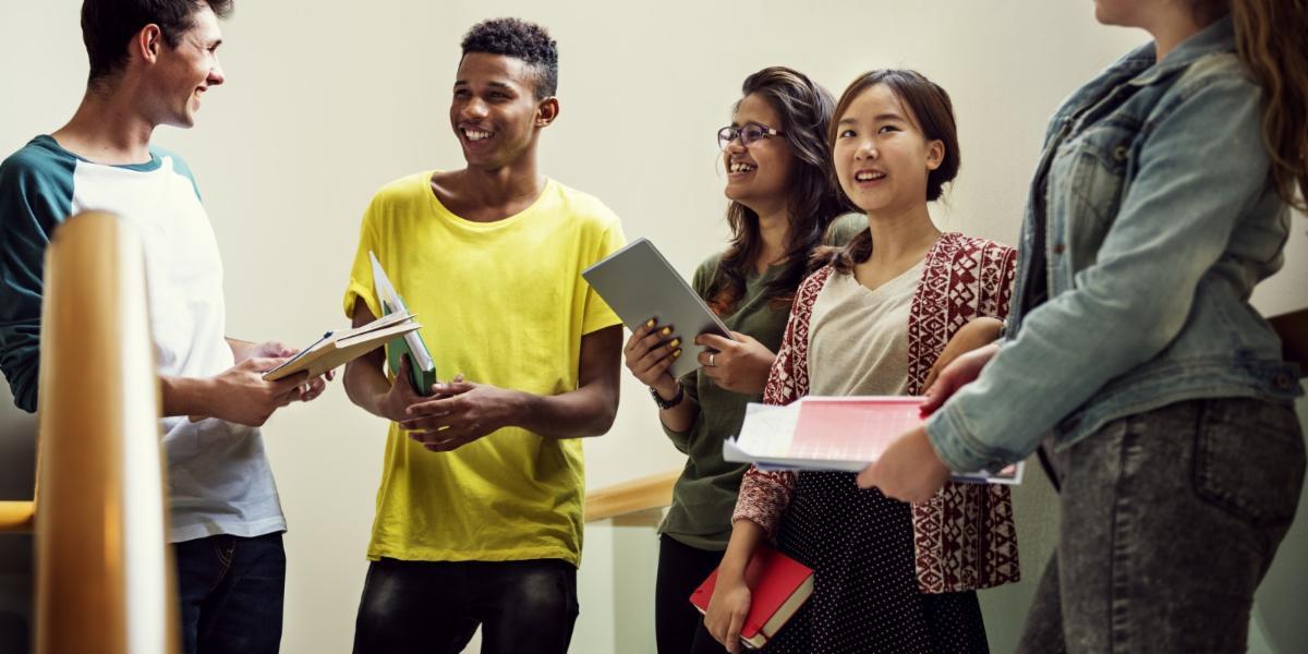 high school students in school hallway