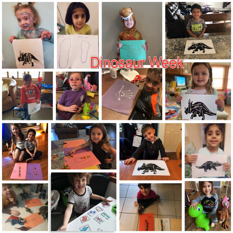 Students showing their dinosaur projects