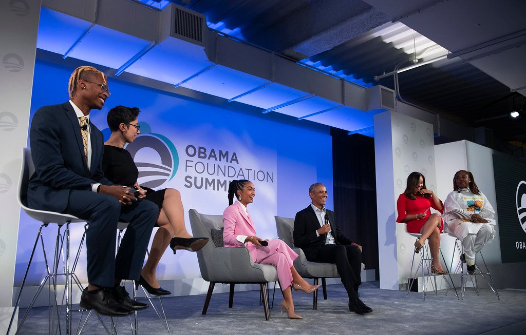 De_Andre Brown participates in a panel with former President Barack Obama at the Obama Foundation Summit