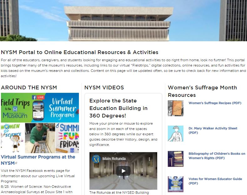 NYS Museum Portal to Online Educational Resources _ Activities