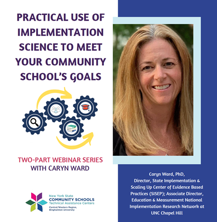 Practical Use of Implementation Science to Meet Your Community School_s Goals_ event flyer