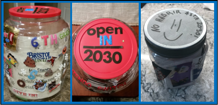 Pictures of cans with personal items in them to keep as a time capsule