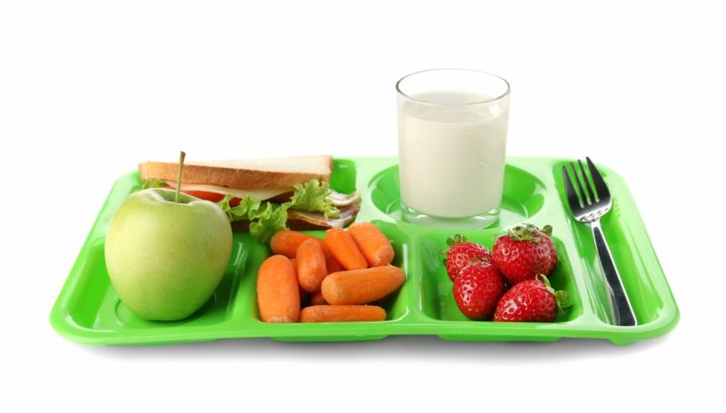 cafeteria tray filled with healthy food