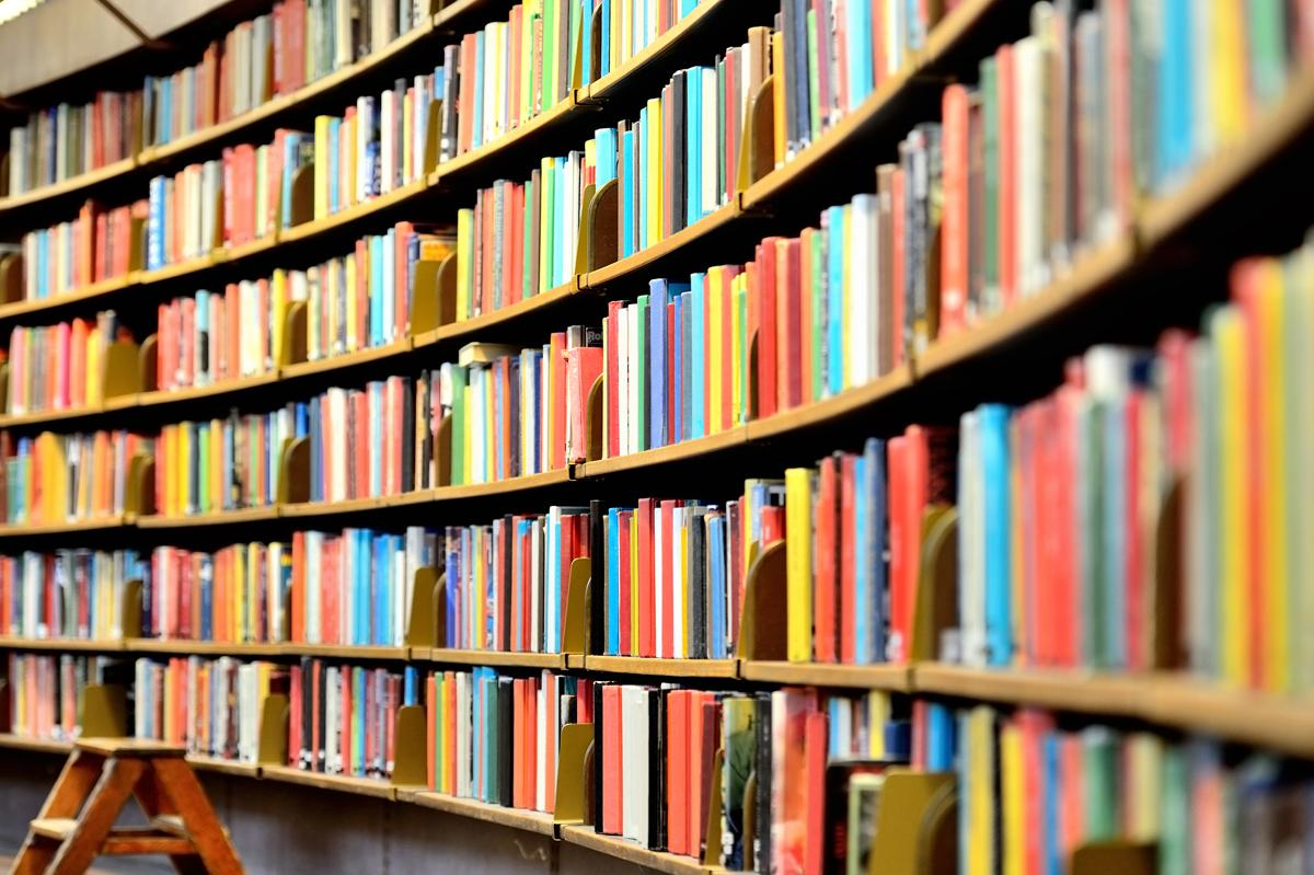 library books on shelves