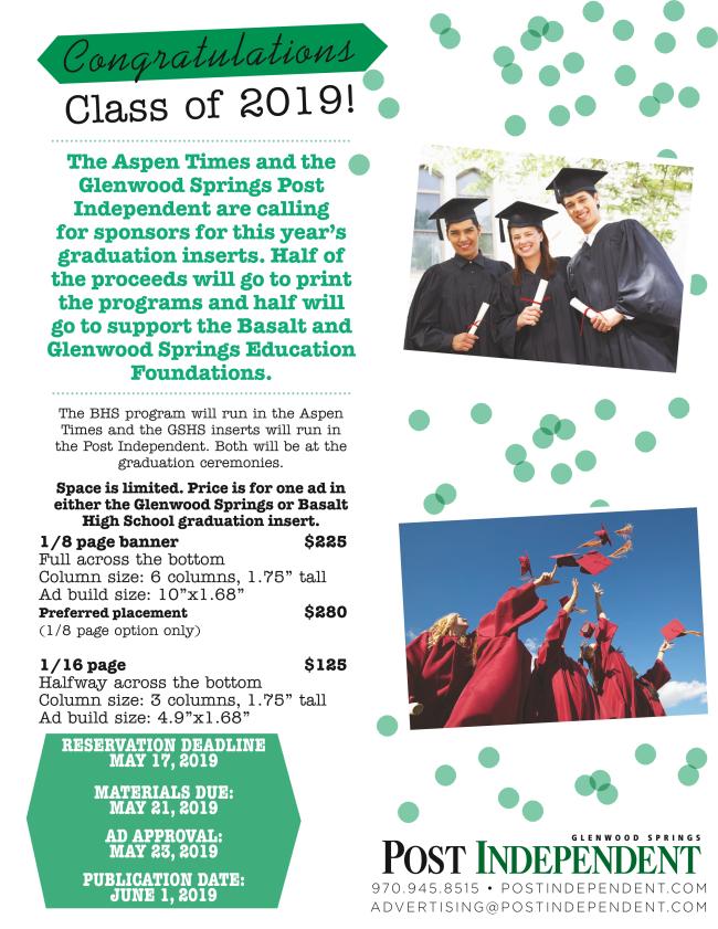 Basalt Graduation 2019 advertising