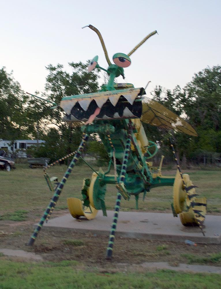 Art from recycled tractor parts_ Knox City