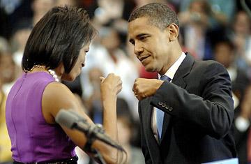 Michelle and Barak Fist Bump