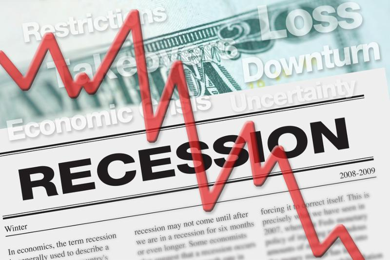 Recession graphic to represent economic downturn and stock market crash.