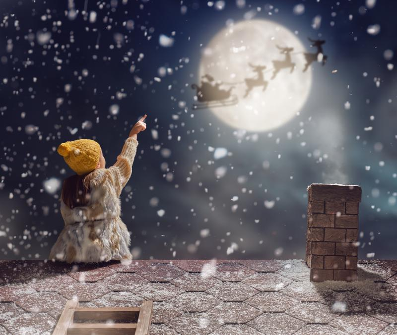 Merry Christmas and happy holidays  Cute little child girl sitting on the roof and looking at Santa Claus flying in his sleigh against moon sky. Kid enjoy the holiday. Christmas legend concept.