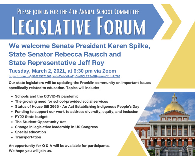Please join us for the 4th Annual Legislative Forum - March 2, 2021