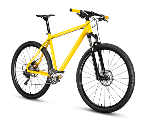 yellow black 29er mountainbike with thick offroad tyres. bicycle mtb cross country aluminum_ cycling sport transport concept isolated on white background