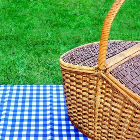 Picnic Basket On The Table With Blue White Checkered Tablecloth. Summer Lawn In The Background