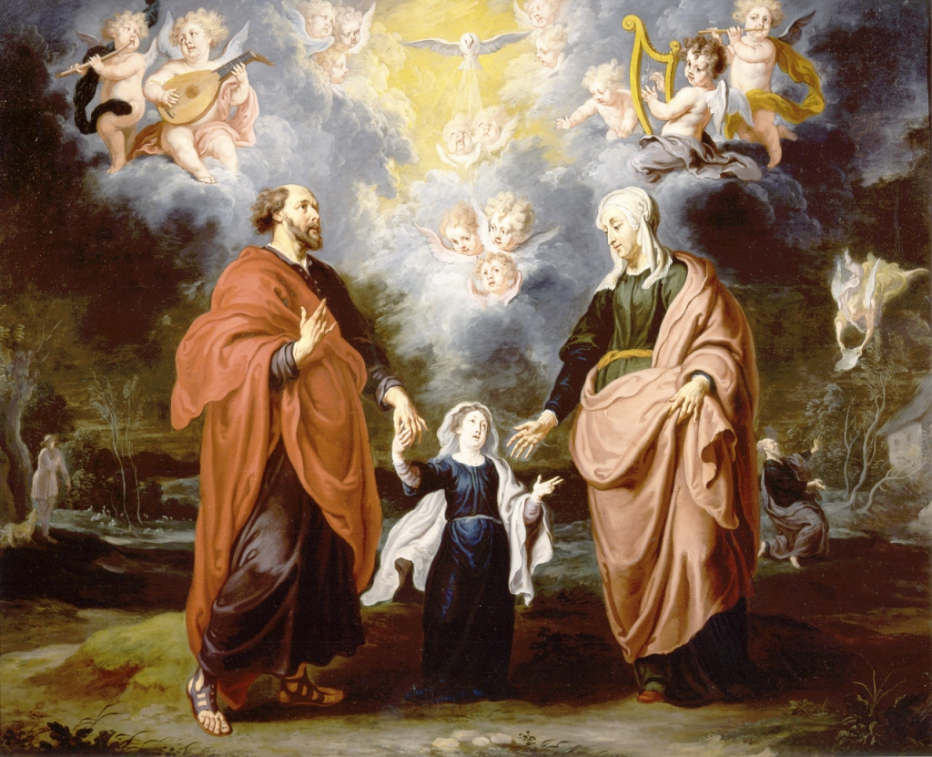 Mary as a child with Joachim and Anne