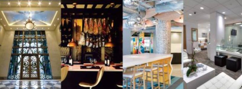four photos of interior design