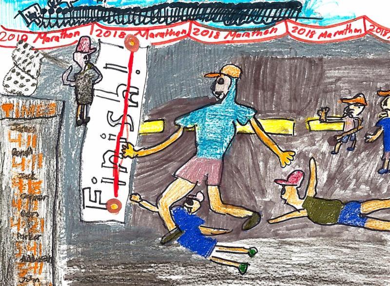 Boston Marathon artwork by Arhan Shrivastava, aged 9