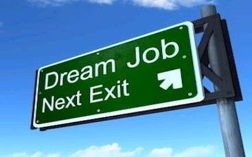 sign that says dream job next exit