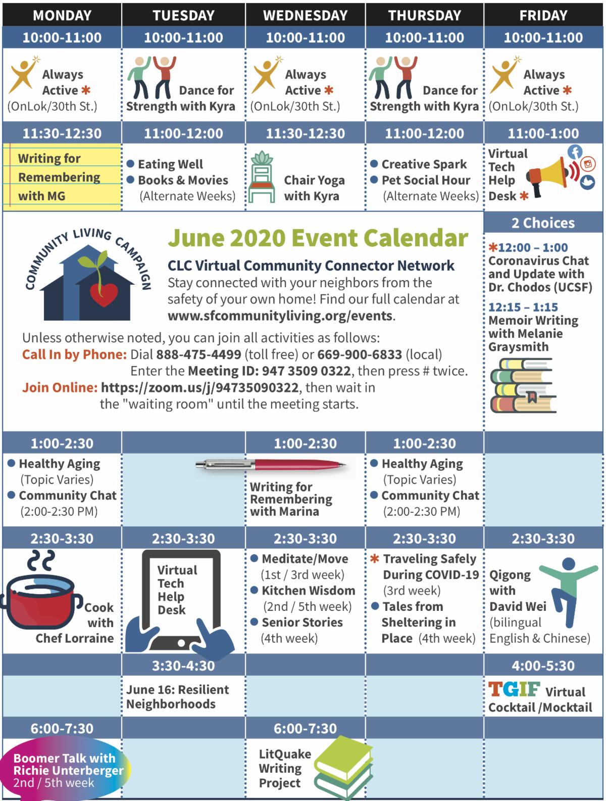image of activities calendar - live link