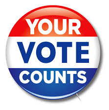 button that says our vote counts