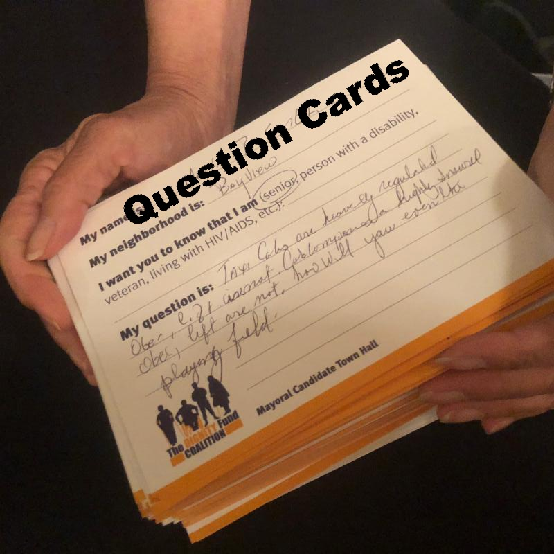 stack of question cards from the Town Hall