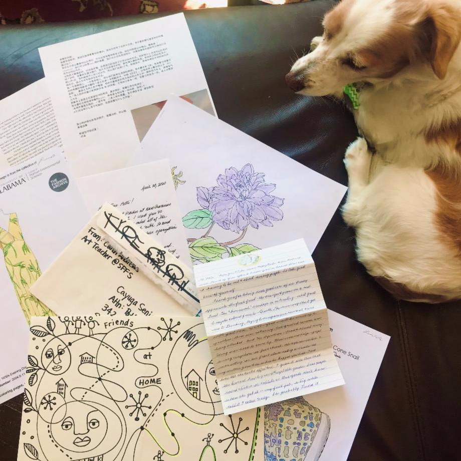 picture of letters to be sent with a dog nearby