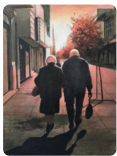 painting of two seniors walking holding hands