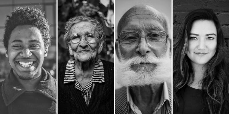 black and white images of older and younger people