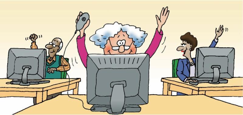 Happy Seniors at Computers