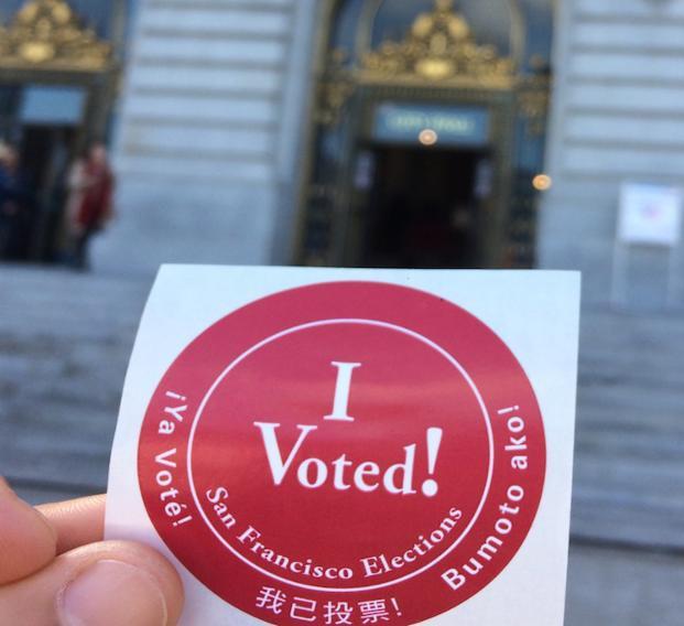 sticker that says I voted
