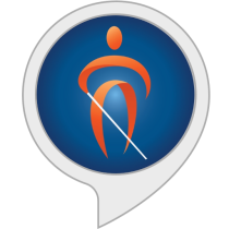 logo with a person and a while cane in a circle