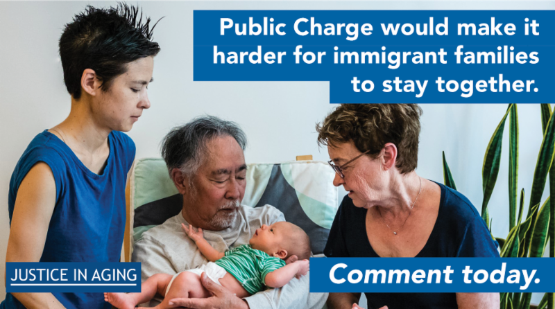 poster of family with label about how Public Charge would impact them