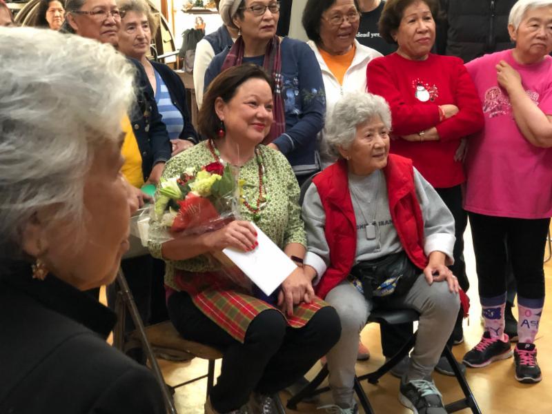 Patti Spaniak with Seniors