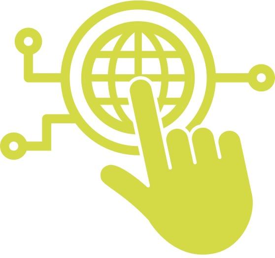 logo of hand pushing button shaped like a globe