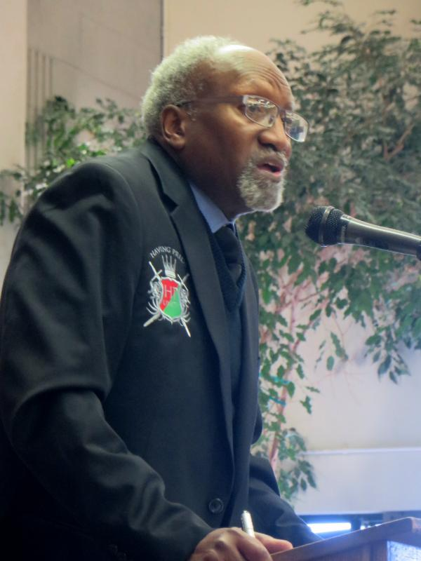 Chester Williams at the microphone at last year's Having Pride UNITI event