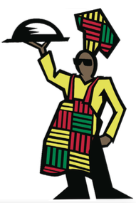 chet in ethnic garb with platter